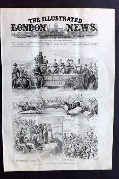 ILN 1880 Antique Print. Sketches at the Regimental Steeplechases at Aldershot